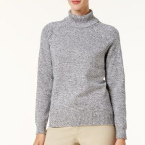 NWT Karen Scott Marled Cotton Turtleneck Sweater